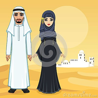 Free Arab Fairy Tale. Animation Portrait Of The Beautiful Arabic Family In Ancient Clothes. Royalty Free Stock Photography - 118233977