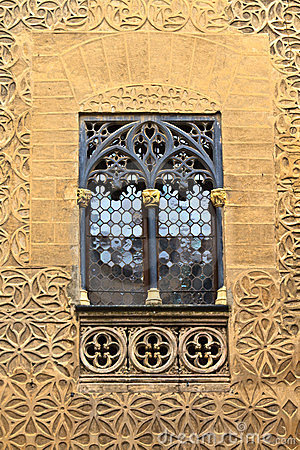 Arab floral wall decoration and window