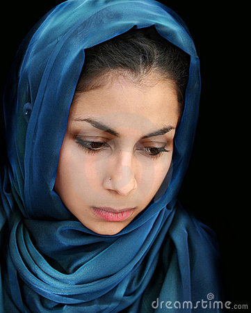 Free Arab Girl In Blue Scarf Stock Photo - 8789920