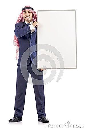 Arab man with blank board