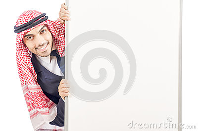 Arab man with blank board