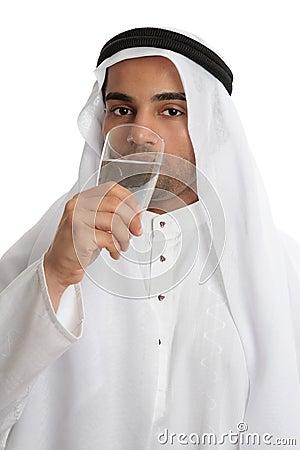 Arab man drinking pure fresh water