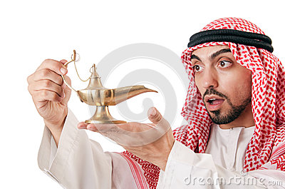 Arab man with lamp