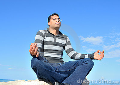 Arab man meditating