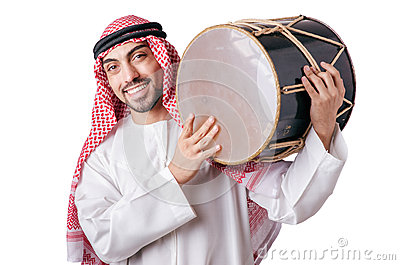 Arab man playing drum