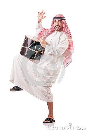 Arab man playing drum
