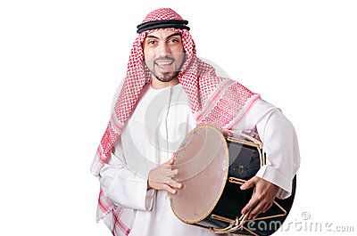Arab man playing drum isolated