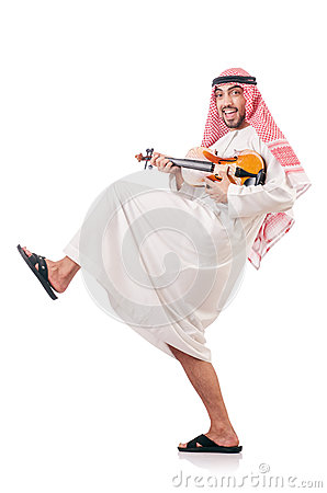Arab man playing violin isolated