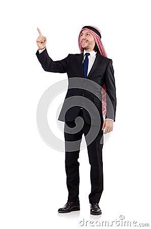 Arab man pressing virtual obstacle
