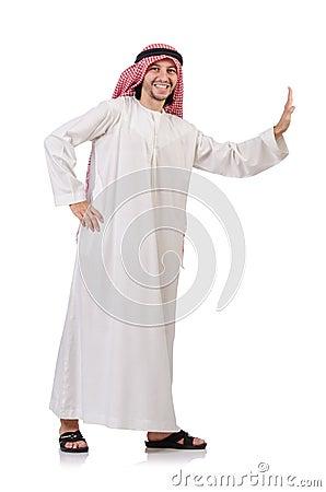 Arab man pushing away  virtual obstacle