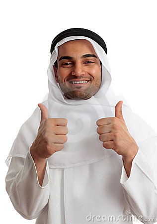 Arab man thumbs up success