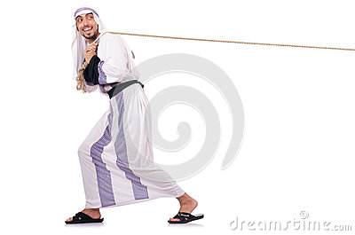 Arab man in tug of war