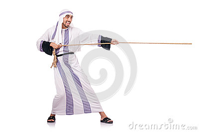 Arab man in tug of war
