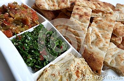 Arab mezzes and bread