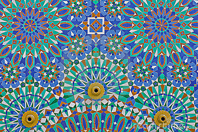 Arab mosaic in the Hassan II Mosque in Morocco