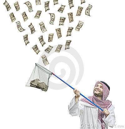 An Arab person with a fishing net catching money