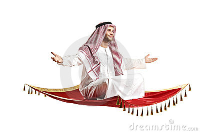 An arab person sitting on a flying carpet