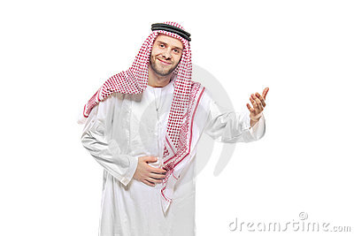An arab person welcoming