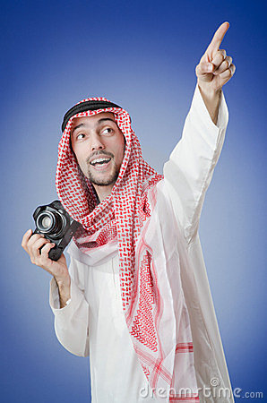 Arab photographer in studio