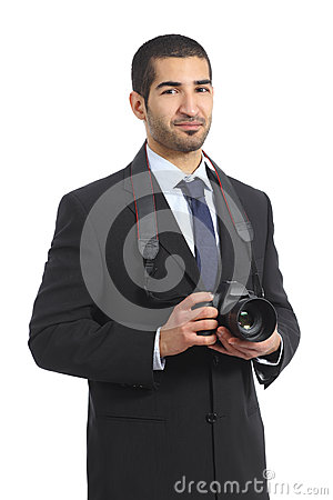 Free Arab Professional Photographer Holding A Dslr Digital Camera Royalty Free Stock Images - 38430579