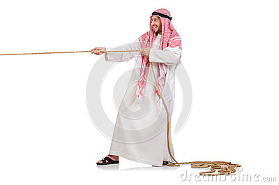 Arab in tug of war concept