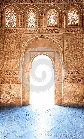Free Arabesque Door Of Granada Palace In Spain, Europe. Royalty Free Stock Image - 26442556