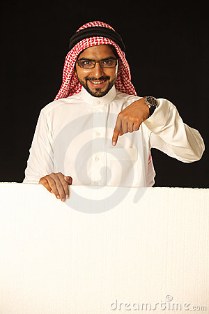 Arabi male model with ad space.