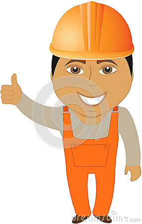 Arabian builder showing thumb up