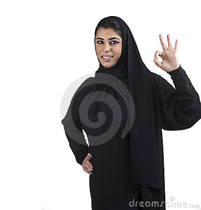 Arabian business woman showing OK hand sign