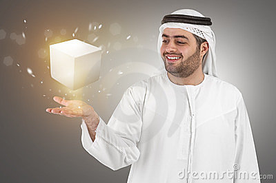 Arabian businessman in virtual reality interface p