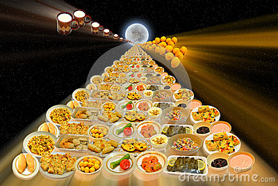 Arabian Food dishes along the sight to the moon