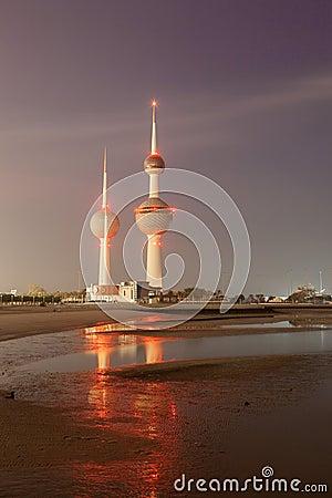 Free Arabian Gulf Beach And The Kuwait Towers Stock Photos - 48681823