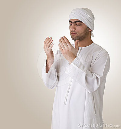 Arabian islamic guy praying