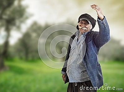 Arabian lebanese farmer proud of his land