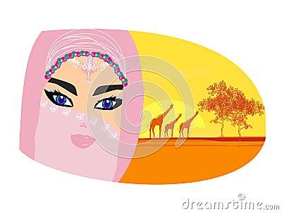 Arabian woman in sahara