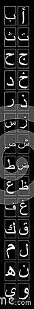 Arabic Alphabet Narrow Vertical on Black