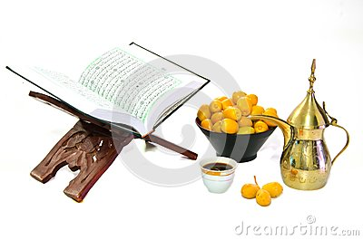 Arabic Coffee with Date Fruit and The Holy Quran