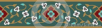 Arabic Floral Seamless Border. Traditional Islamic Design. Vector Illustration
