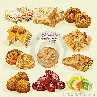 Free Arabic Food. Set Of Eastern Desserts Royalty Free Stock Photo - 53062765