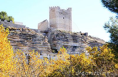 Arabic fortress at rocks, Alcala del Jucar, Spain