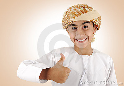 Arabic kid ,thumb up