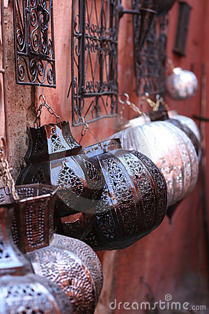 Arabic lamps on walls, bazaar, in souk