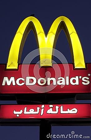 Arabic McDonalds Sign Editorial Stock Image