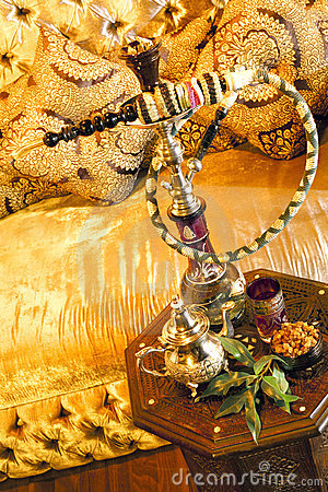 Arabic water pipe with tea set