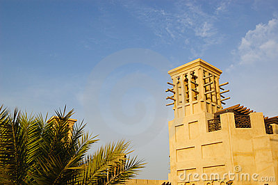 Arabic wind tower during sunset