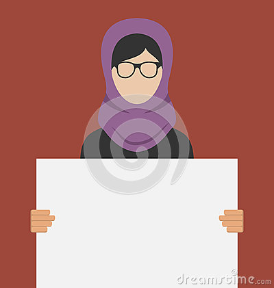 Arabic Woman Holding a Blank Horizontal Banner Vector Illustration