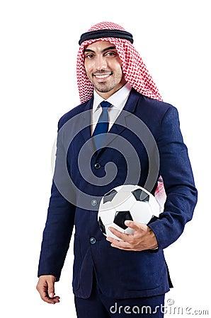 Arabische zakenman met voetbal