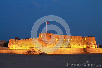 Arad fort in Manama Bahrain at night