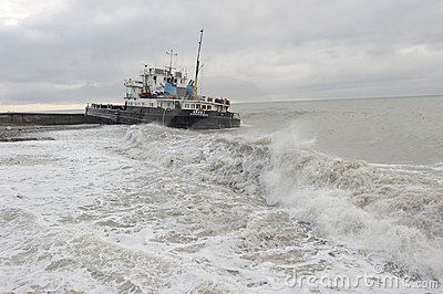 Aras 1 dry cargo ship suffering a shipwreck Editorial Photography