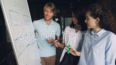 Arbetar det attraktiva folket för unga anställda med whiteboarden som ser diagram och att skriva med markörer och samtal arkivfilmer
